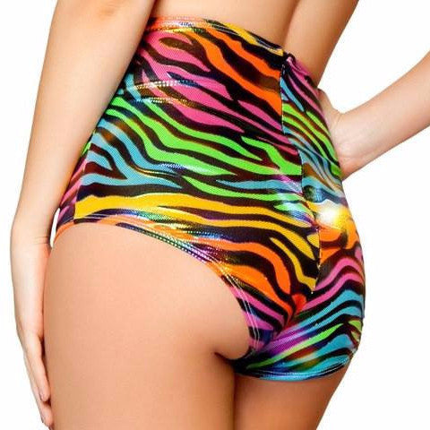 Rainbow Zebra High Waisted Shorts - Rave Rebel