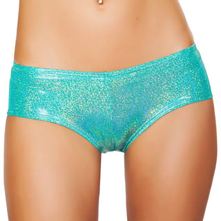 Aqua Shimmer Booty Shorts - Rave Rebel
