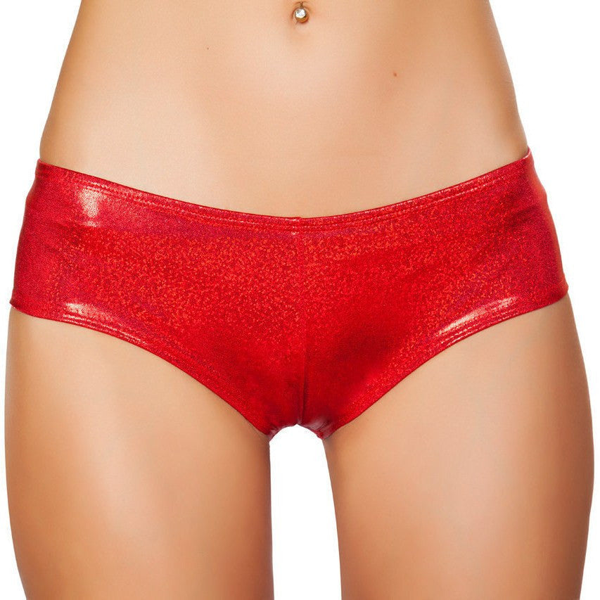 Red Shimmer Booty Shorts - Rave Rebel