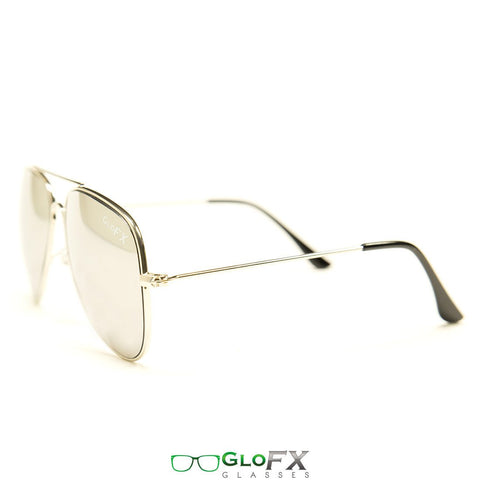 GloFX Metal Pilot Aviator Style Diffraction Glasses – Silver Mirror