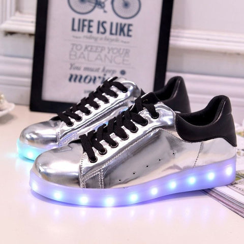 Shiny SIlver LED Light Up Shoe - Rave Rebel