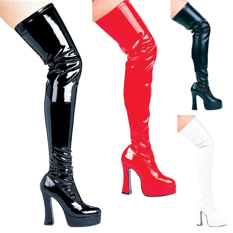 "5"" Chunky Heel Thigh High Stretch Boots - Rave Rebel"