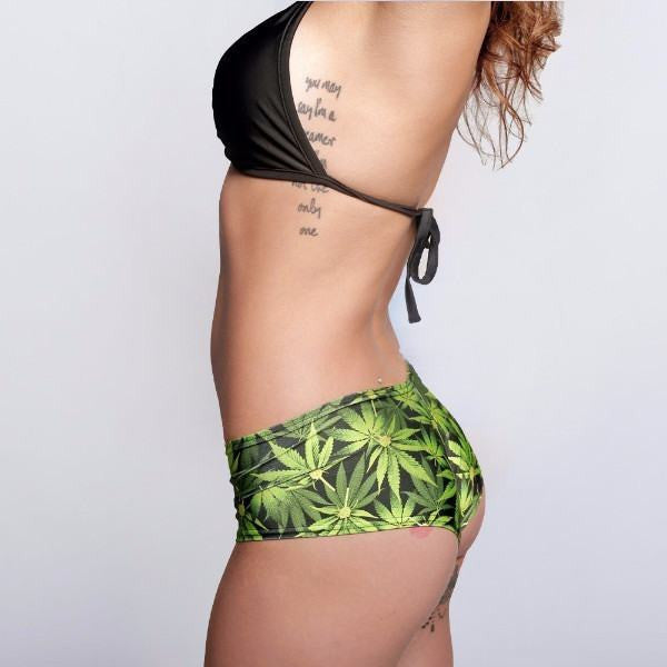Cannabis Print Ultra Cheeky Booty Shorts - Rave Rebel