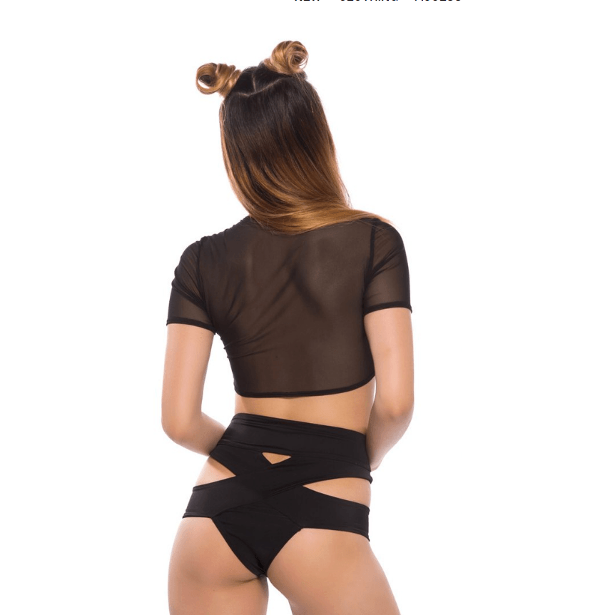 Utopia Crop Top in Black Mesh - Rave Rebel