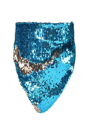 Reversible Sequin Bandana Mask - Ocean Blue & Champagne