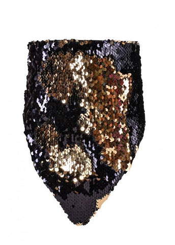 Reversible Sequin Bandana Mask - Black & Gold