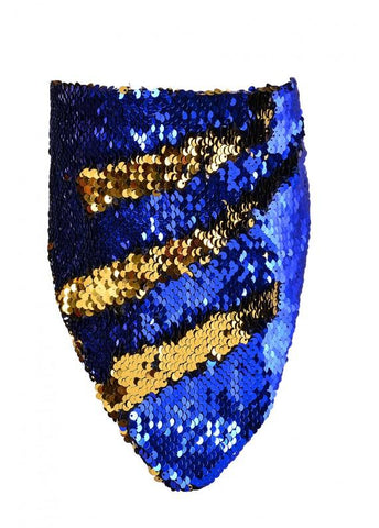 Reversible Iridescent Infiniti Bandana Mask - Royal Blue & Gold