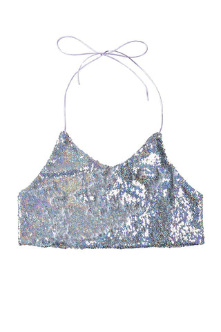 Reversible Sequin Halter Top - Holographic - Rave Rebel