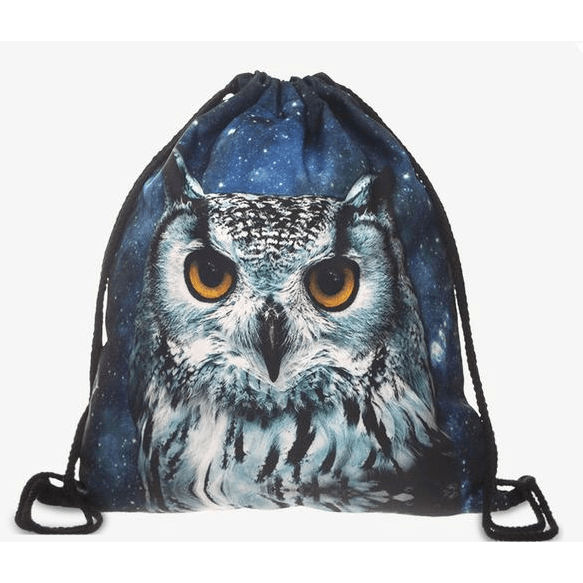 Galaxy Owl Drawstring Bag - Rave Rebel