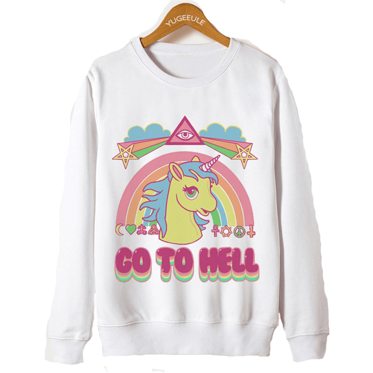 Go To Hell Unicorn Pullover - Rave Rebel