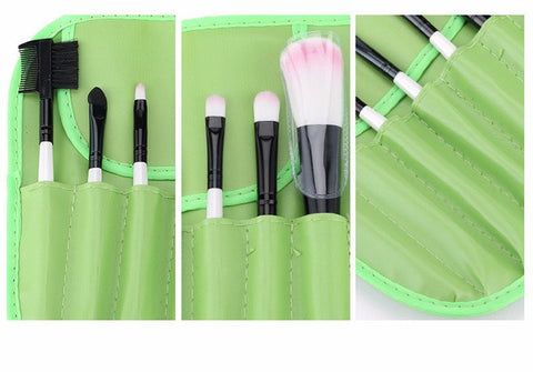 Green 7pcs Makeup Brush Kit