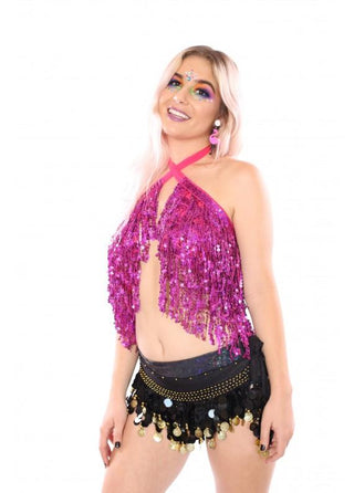 Holographic Sequin Top - Rose Blossom - Rave Rebel