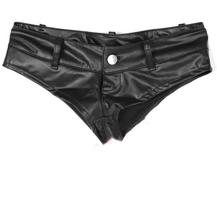 High Cut Faux Leather Cheeky Booty Shorts - Rave Rebel