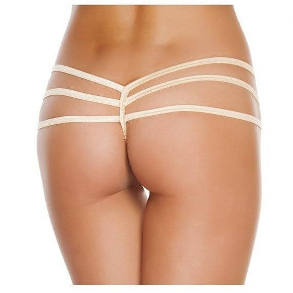 Nude Triple Strapped Bikini Bottoms - Rave Rebel
