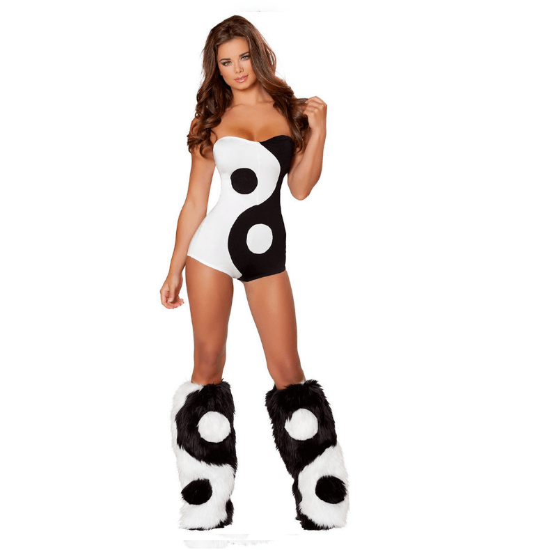 Strapless Yin and Yang Romper with Matching Fur Leg Warmers - Rave Rebel