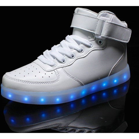 White LED High Top Light Up Shoe - Rave Rebel