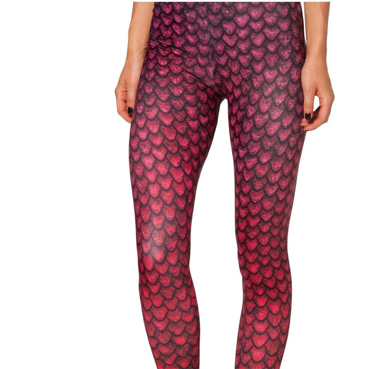 Red Scale Mesh Leggings - Rave Rebel