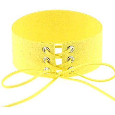 Yellow Lace Velvet Choker Necklace - Rave Rebel