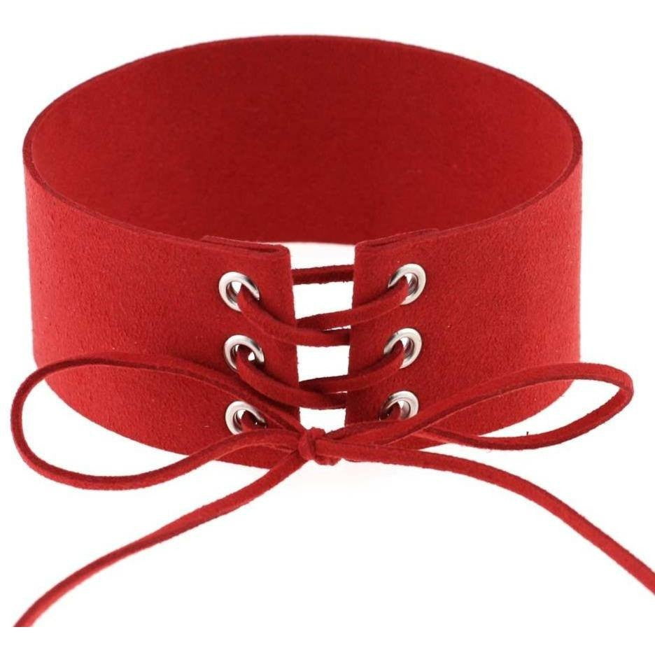 Red Lace Velvet Choker Necklace - Rave Rebel