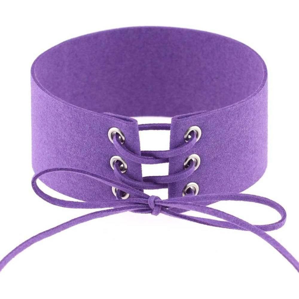 Purple Lace Velvet Choker Necklace - Rave Rebel