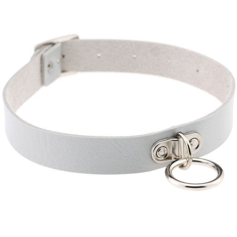 White Vintage Leather Choker Necklace - Rave Rebel
