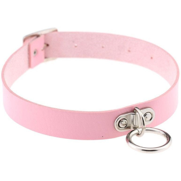 Pink Vintage Leather Choker Necklace - Rave Rebel