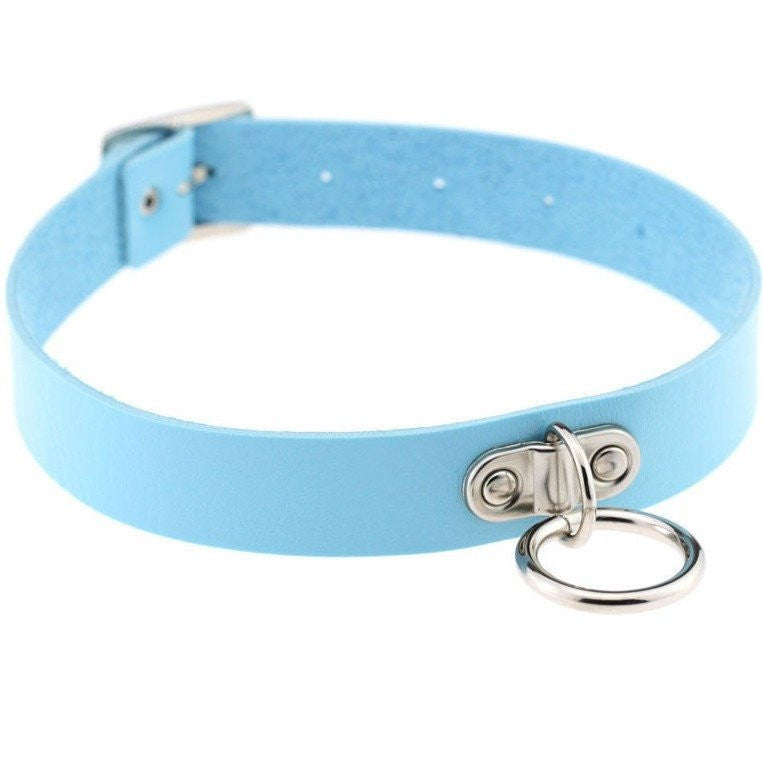 Blue Vintage Leather Choker Necklace - Rave Rebel