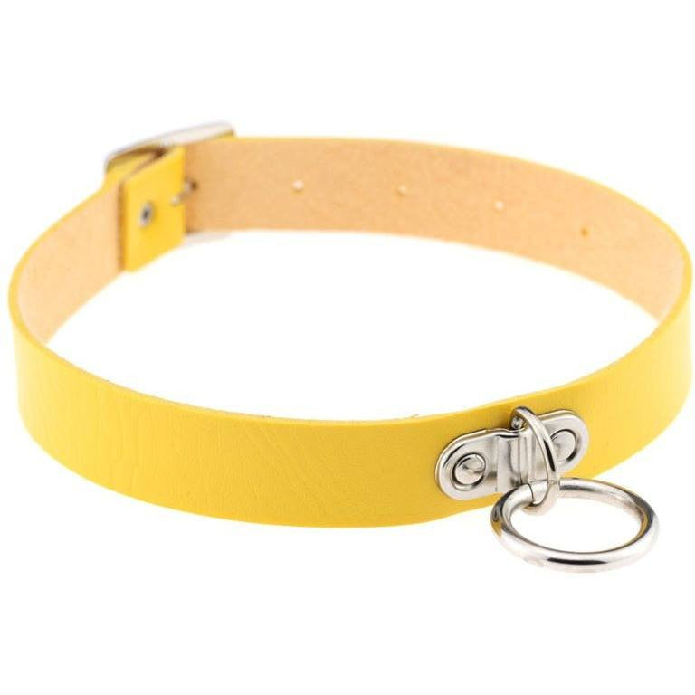 Yellow Vintage Leather Choker Necklace - Rave Rebel