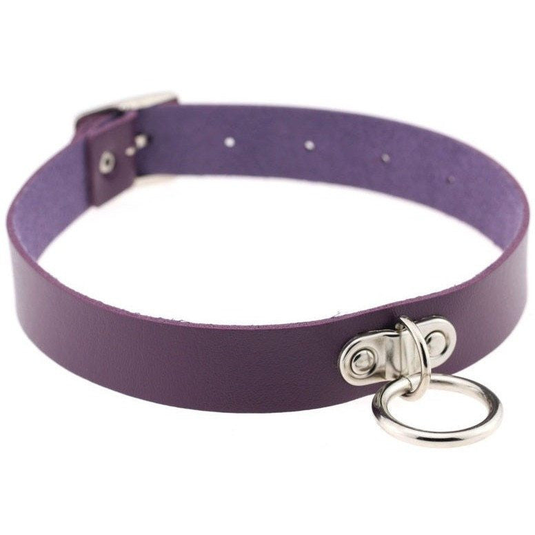 Purple Vintage Leather Choker Necklace - Rave Rebel