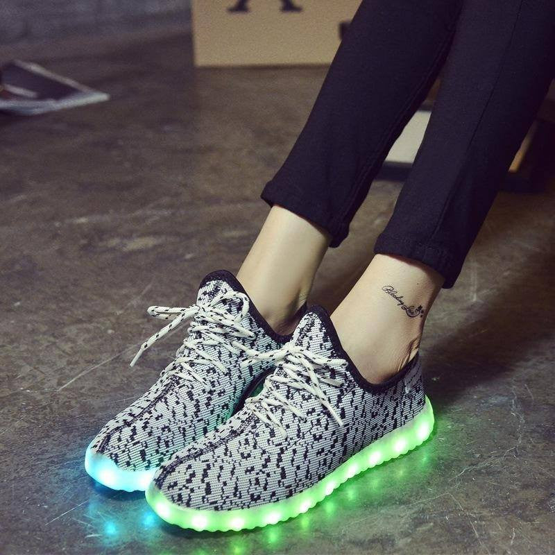 White Carbon Print LED Light Up Shoes