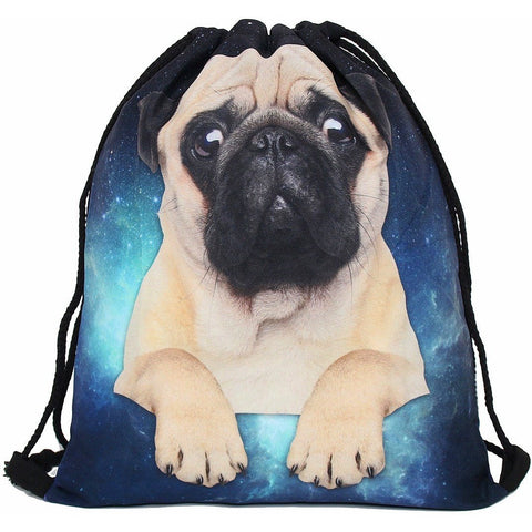 Space Pug Drawstring Bag - Rave Rebel