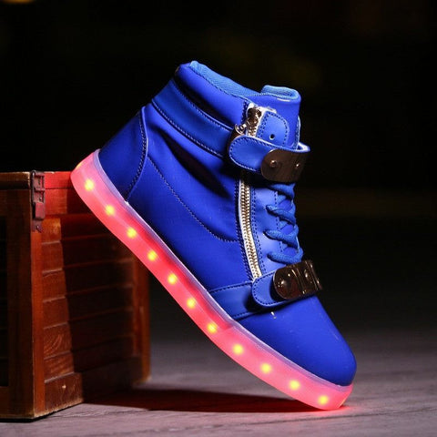 Blue LED High Top Shoe - Rave Rebel