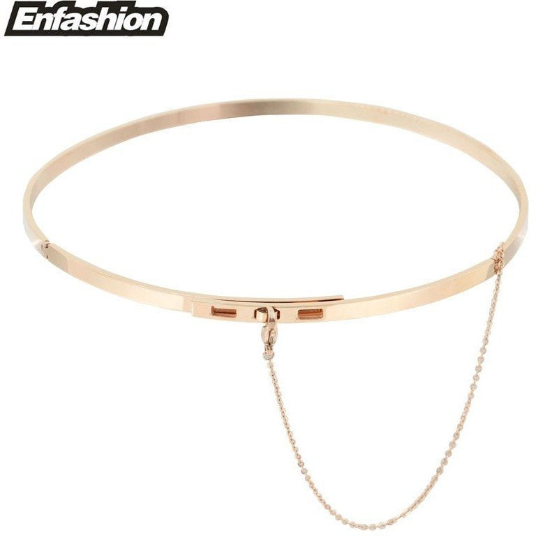 Yellow Gold Stainless Steel Choker Chain Necklace - Rave Rebel