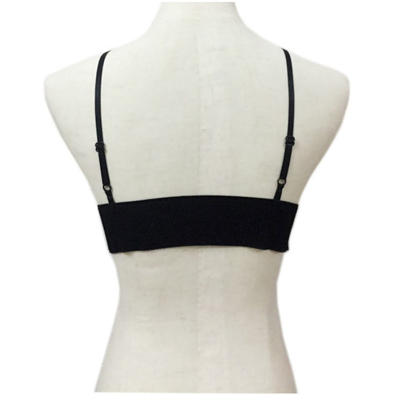 Black Leather Spaghetti Strap Top - Rave Rebel