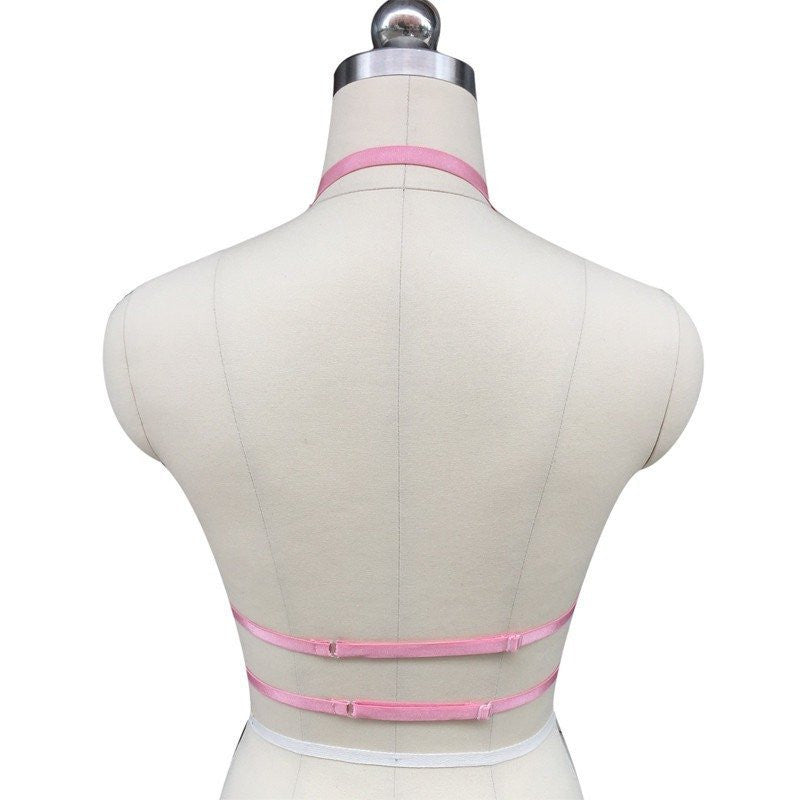 Pink Crop Top Cage Harness - Rave Rebel
