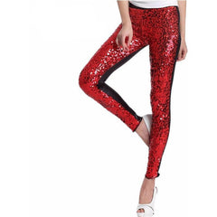 Red Sequin Faux Leather Leggings - Rave Rebel