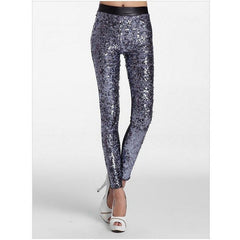 Silver Sequin Faux Leather Leggings - Rave Rebel