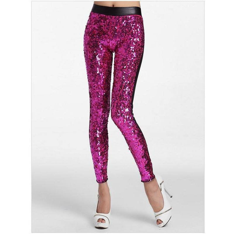 Pink Sequin Faux Leather Leggings - Rave Rebel