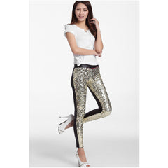 Gold Sequin Faux Leather Leggings - Rave Rebel
