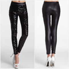 Black Sequin Faux Leather Leggings - Rave Rebel