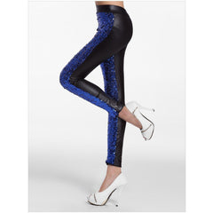 Blue Sequin Faux Leather Leggings - Rave Rebel