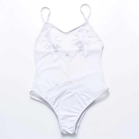 White Retro Palm Tree Vintage Monokini - Rave Rebel