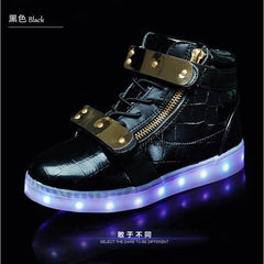 Kids Black & Gold High Top LED Light Up Shoes - Rave Rebel