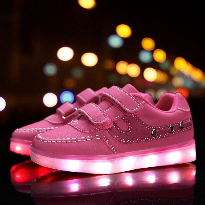 Kids Pink Velcro LED Light Up Shoe - Rave Rebel