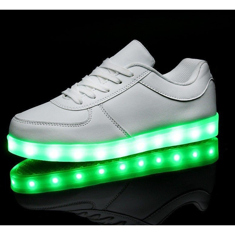 Kids White Low Top LED Light Up Shoe - Rave Rebel