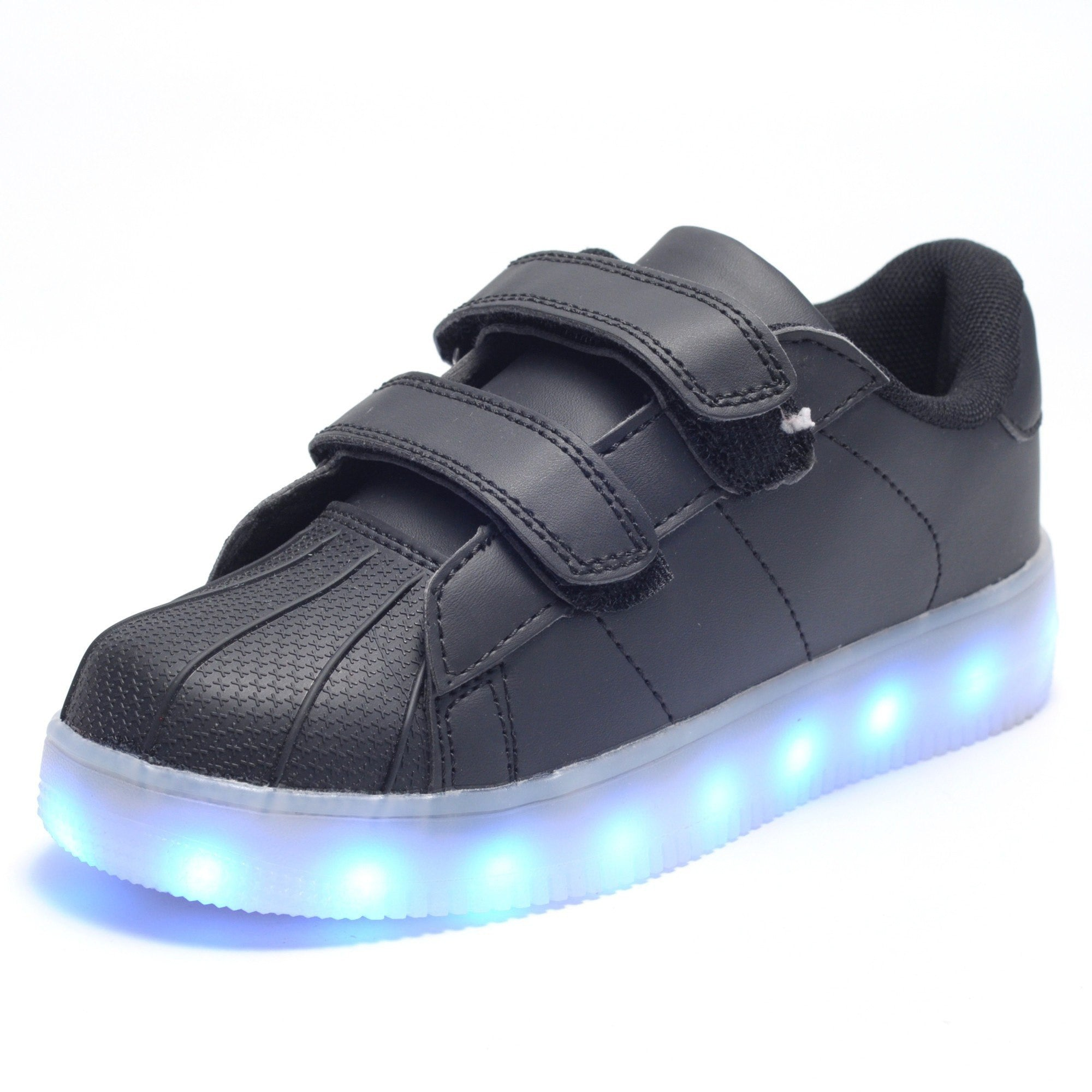 Kids Black Velcro LED Light Up Shoes - Rave Rebel