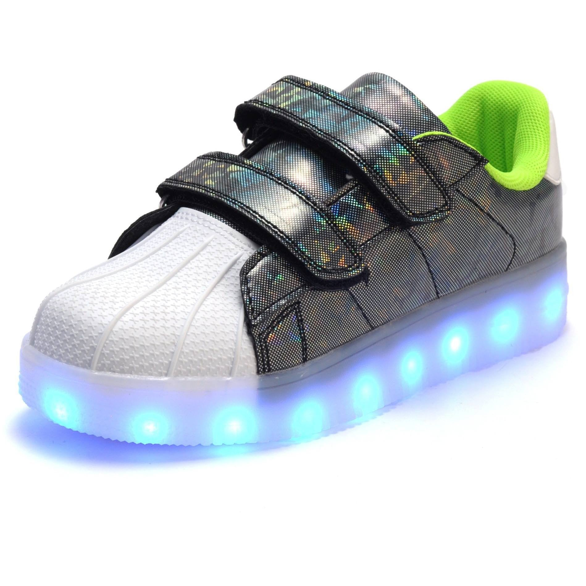 Kids Green Hologram LED Light Up Shoes - Rave Rebel