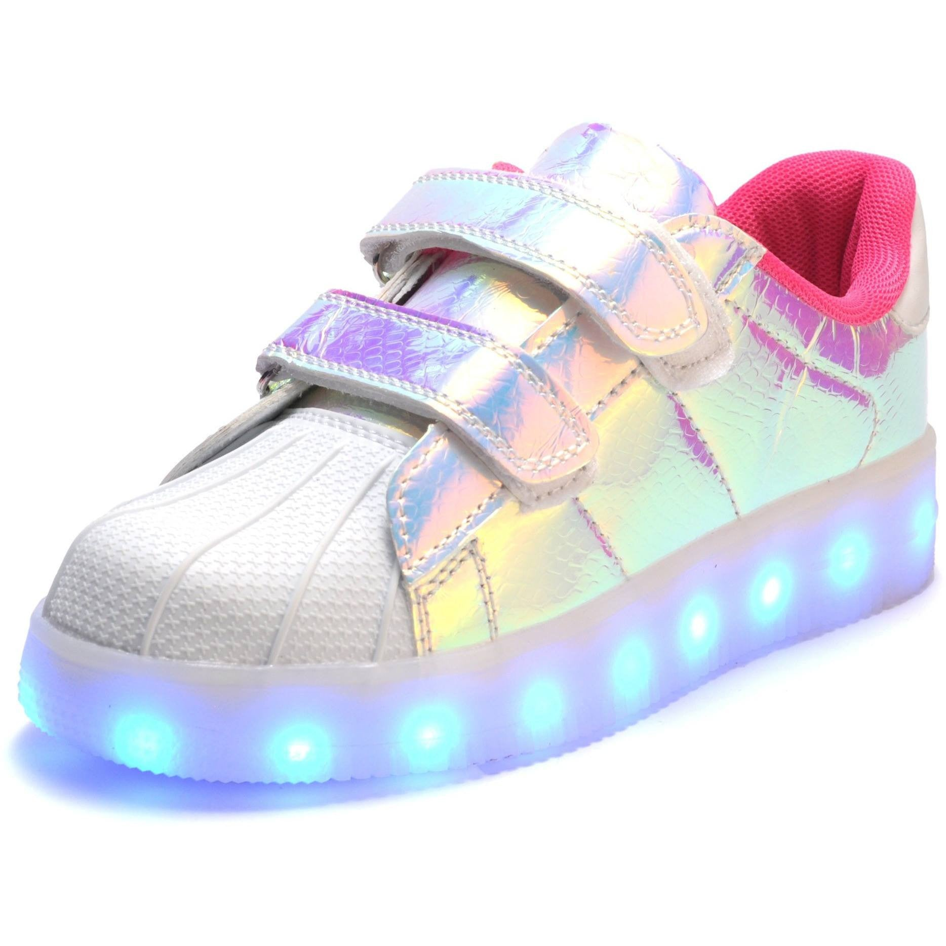 Kids Pink Hologram LED Light Up Shoes - Rave Rebel
