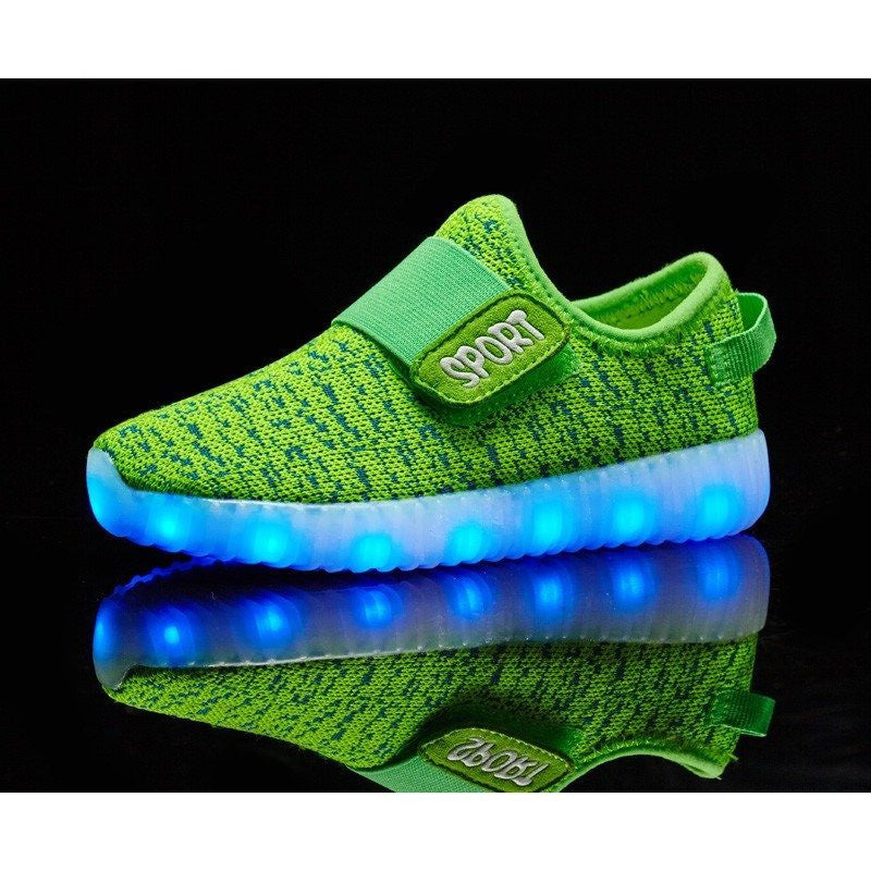 Kids Green Sport Carbon Print LED Light Up Shoe - Rave Rebel