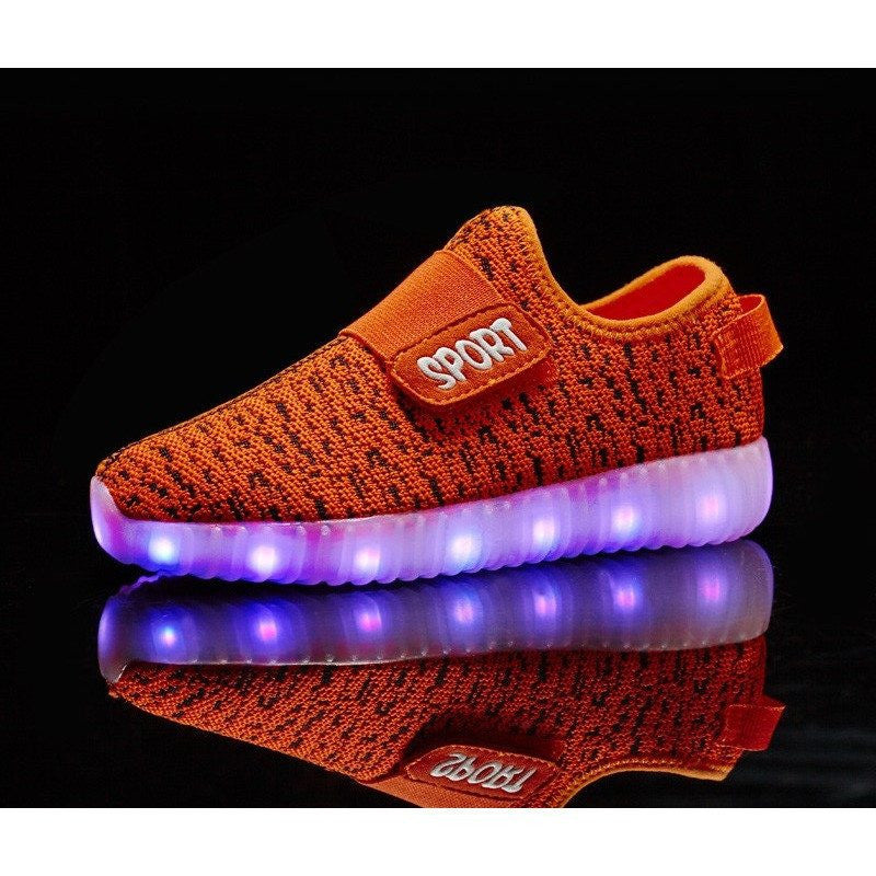 Kids Orange Sport Carbon Print LED Light Up Shoe - Rave Rebel